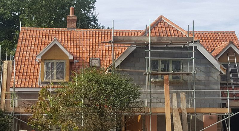 New roof at Gt Barton, Suffolk