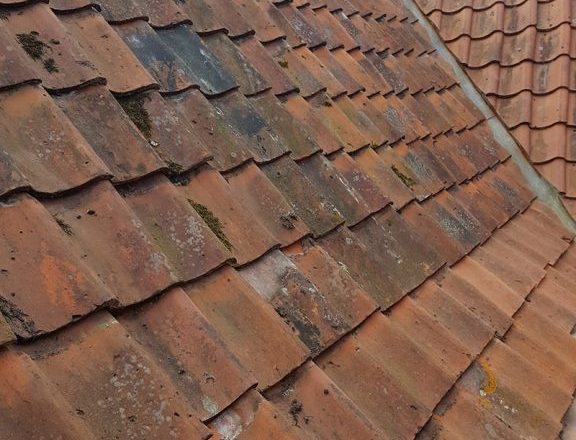Peg Tiles and Suffolk pan tile reroof with new lead box gutter at Bramfield, Suffolk